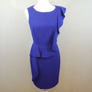 Calvin Klein ruffle sheath dress cobalt blue Sz 4